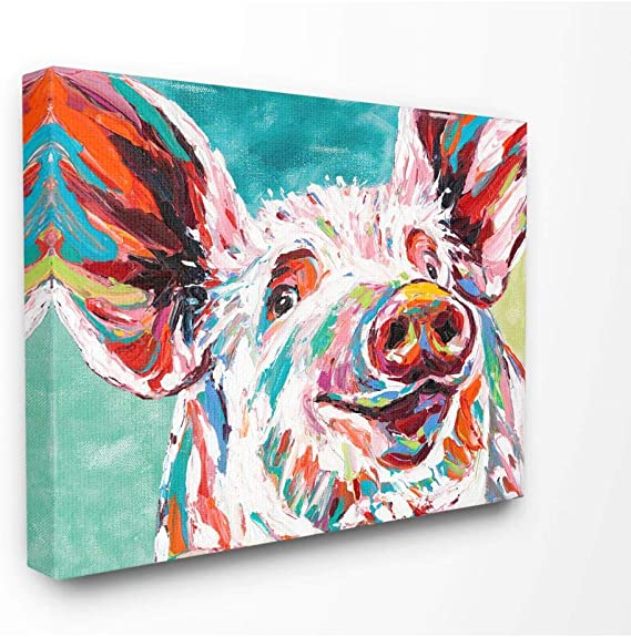 Stupell Industries Brightly Painted Pig Canvas Wall Art 24 X 30 Design By Artist Carolee Vitaletti Paintings Amazon Com