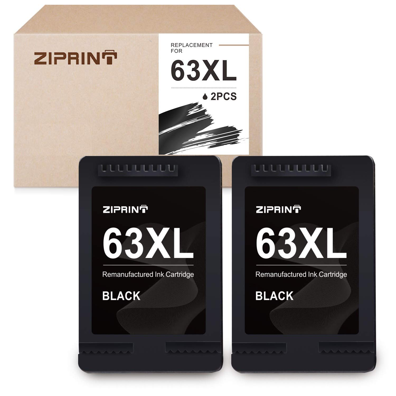 1x Black+1x Color 63XL 63-XL Ink w//New Chip For HP Officejet 5220 5230 5232 5252