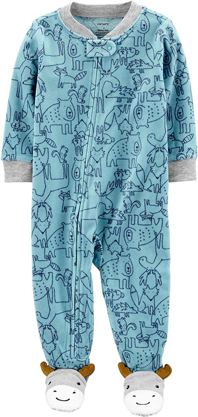Carters Woodland Animals Blue Fleece Moose Blanket Pajama Sleeper