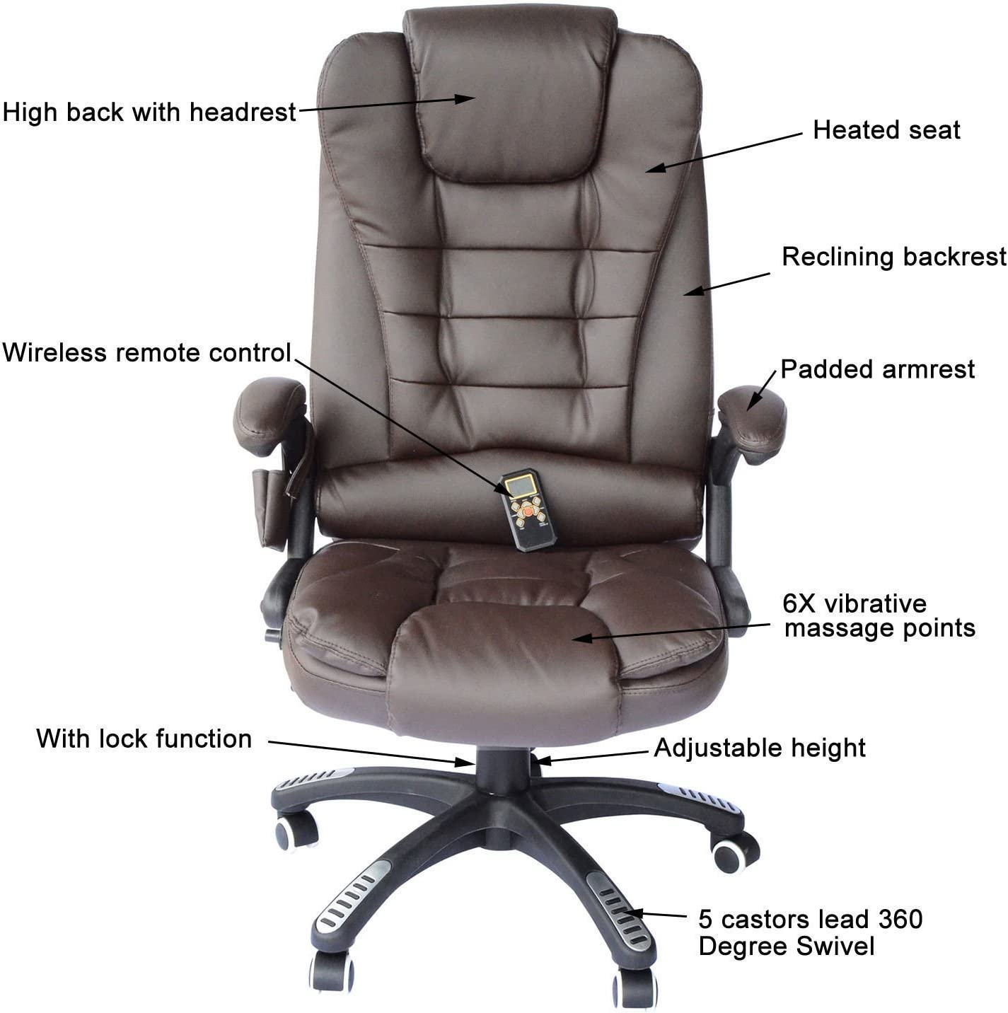Homcom Adjustable Heated Ergonomic Massage Office Chair Swivel Vibrating High Back Leather Executive Chair Home Office