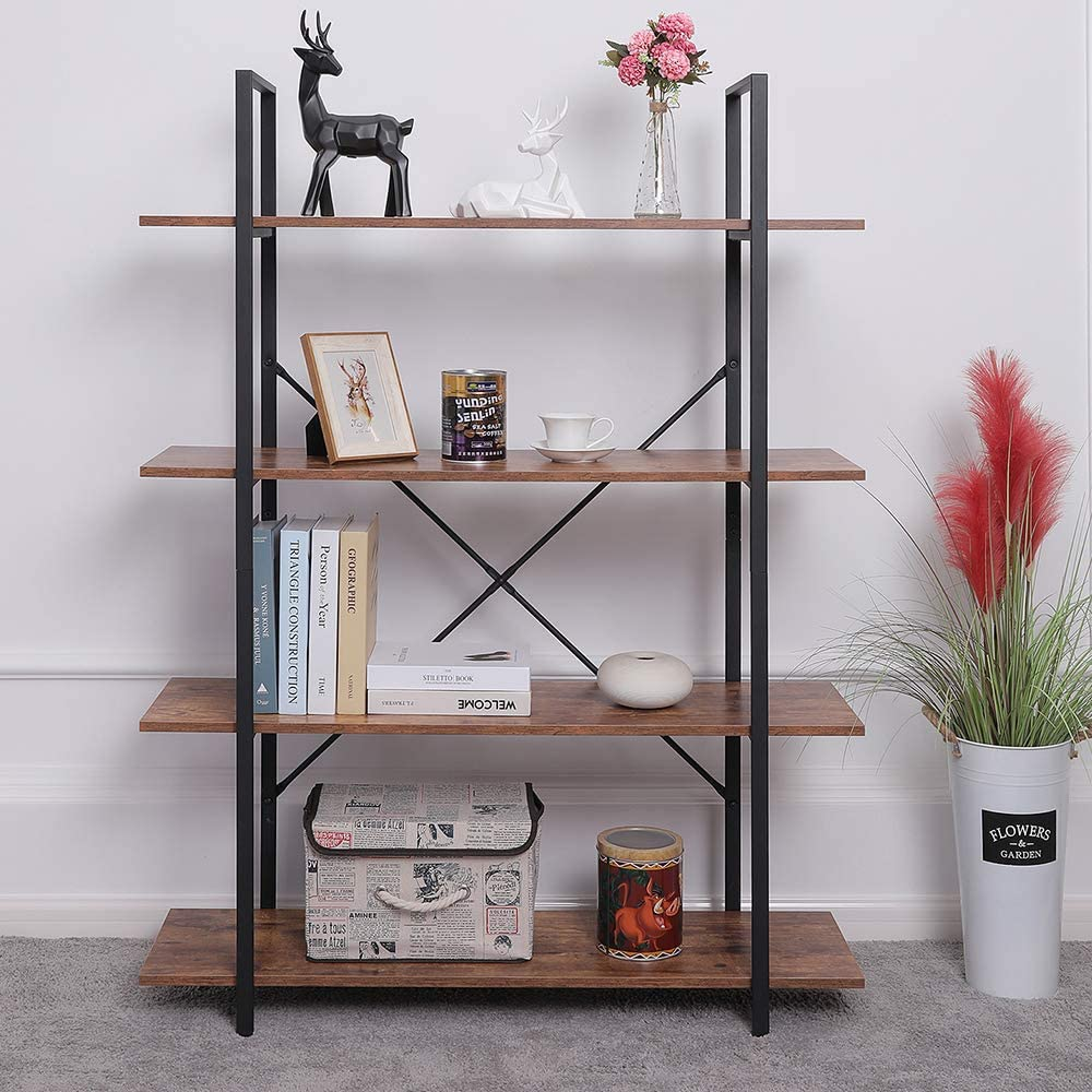 ORAF 4 Tier Bookshelf Industrial Style Bookcase, Vintage Multipurpose Shelf and Open Wide Modern Home Office Storage Cabinet, Retro Brown