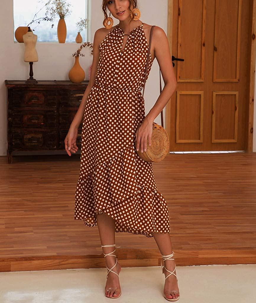 Indexp Summer Party Dresses for Women,Boho Women Dot Print Halterneck Spotted Belt Ladies Summer Midi Sun Dress