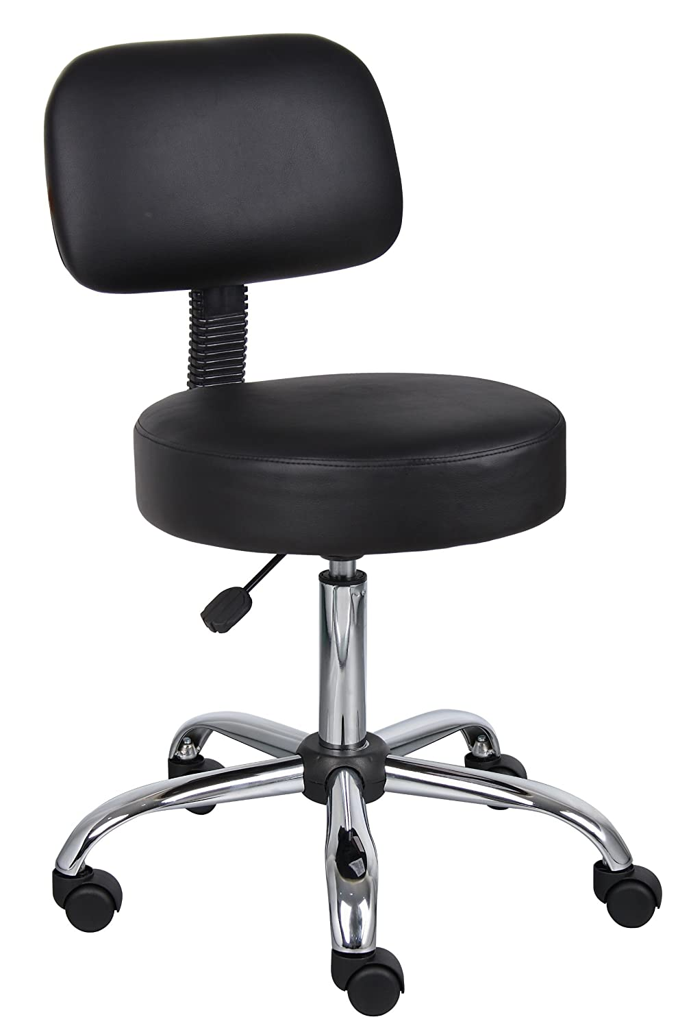 Boss Office Products B245-BK Be Well Medical Spa Stool with Back in Black Renewed