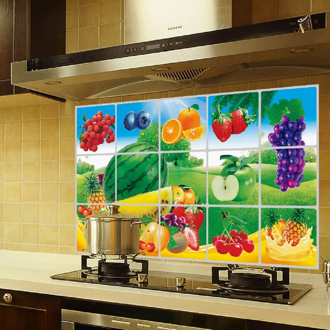 Jaamso Royals Removable Kitchen Oil Proof Decal Sticker Heat Resistant Waterproof Tile Sticker Aluminium Foil Wall Sticker Fruits 45 Cm X 75 Cm 3028 Jr08 Amazon In Home Kitchen