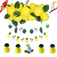 Summer Tropical Party Decorations Kit Yellow Balloons Leaf Flamingos Pineapples Banners Parrot Honeycomb for Luau Hawaiian Beach Hanging Decoration SUNBEAUTY