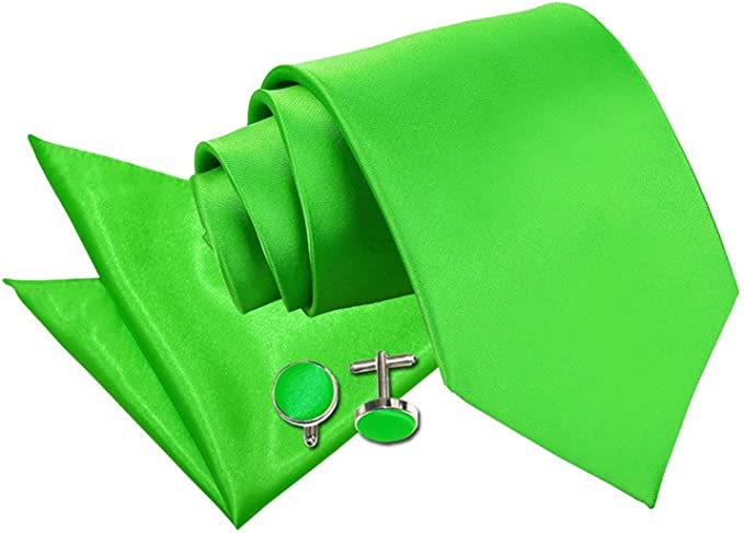 DQT Satin Plain Solid Apple Green Formal Classic Mens Pre-Tied Bow Tie