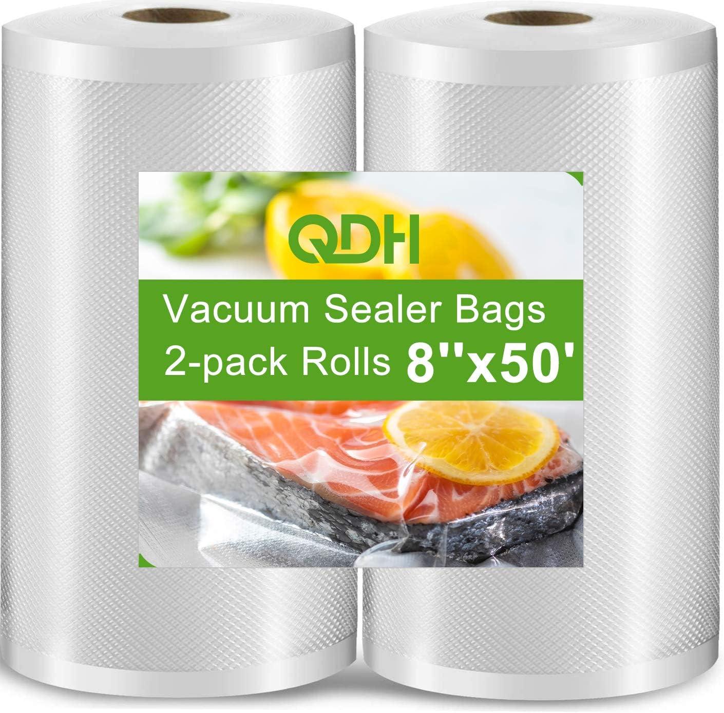 "Vacuum Sealer Bags 8""x50' Rolls 2 pack for Food Saver, Seal Meal. Sous Vide Bag Great for Sous Vide Cooker, Vac Machine, Microwave & Freezer, BPA Free and Commercial Grade Vacuum Sealer bag"