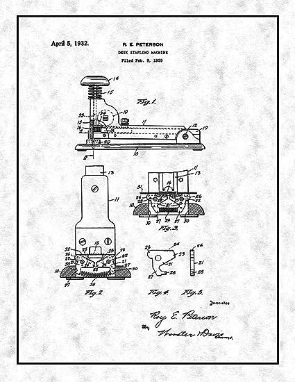 Amazon Com Desk Stapling Machine Patent Print Gunmetal With Border