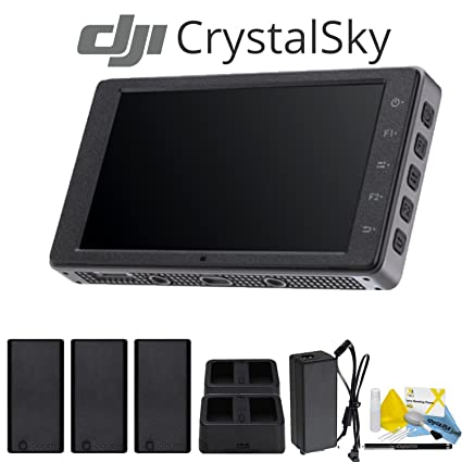 DJI CrystalSky 5 5 Inch High Brightness Monitor with 2 Spare DJI Batteries,  Spare Charging Hub, Charger with Power Supply and More