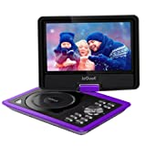 ieGeek 9.5'' Portable DVD Player with 5 Hour Rechargeable Battery, 360°LCD Eye Protection Swivel Screen, Supports 32GB SD Card and USB, with Remote Controller + Game Joystick +Car Charger (Purple)