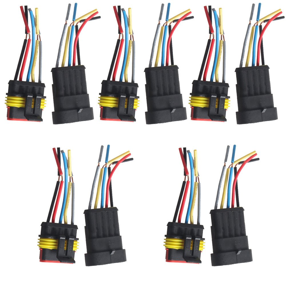 Etopars/™ 5 X 4 Pin Way Car Auto Waterproof Electrical Connector Plug Socket Kit with Wire AWG Gauge Marine
