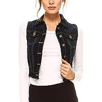 Fashionazzle Women's Buttoned Basic Solid Denim Vest Jacket
