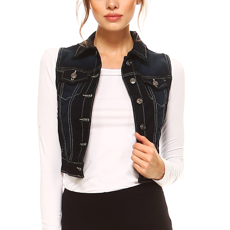 Fashionazzle Women's Buttoned Basic Solid Denim Vest Jacket (X Large, DSV01-Dark Blue)