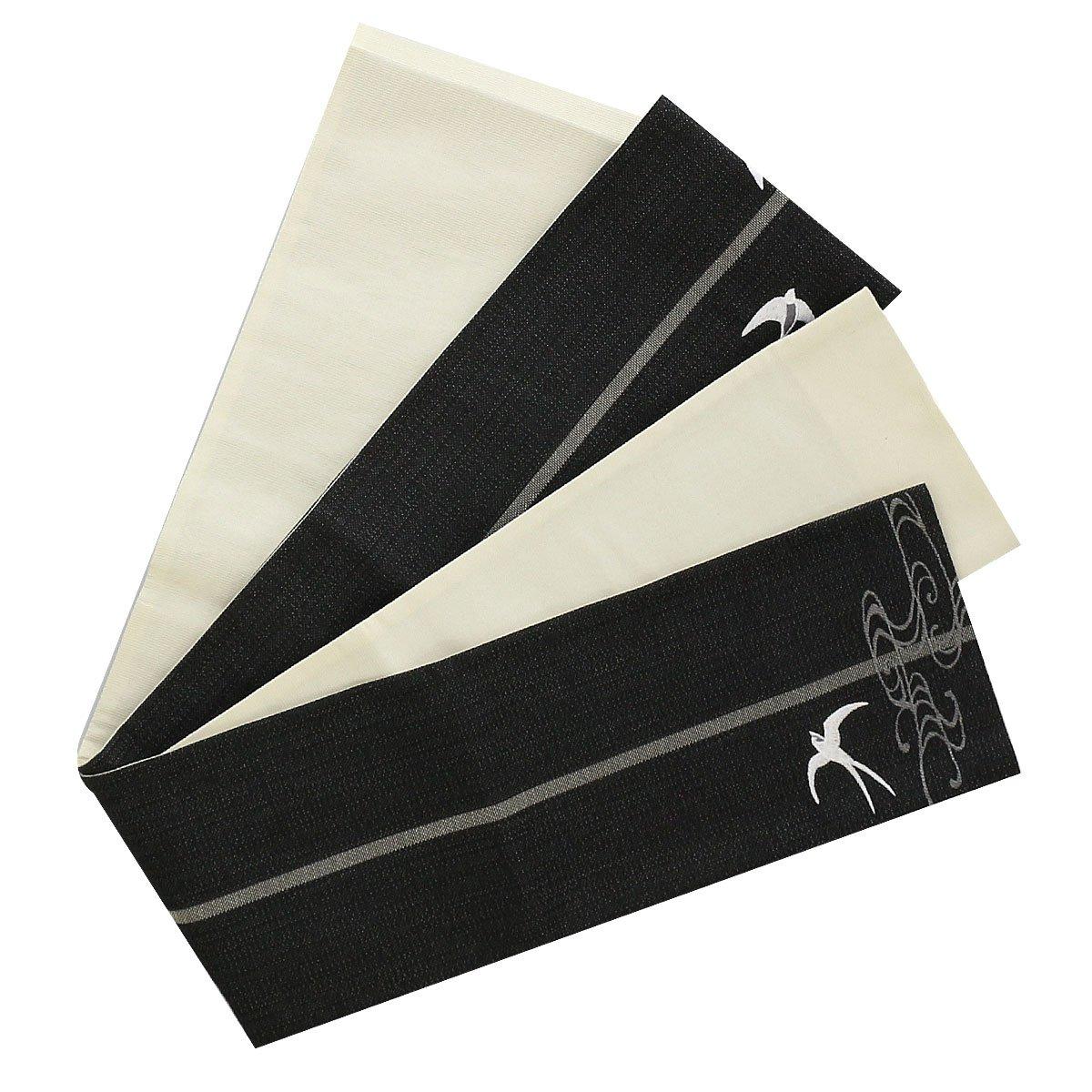 (キステ) Kisste 半幅帯 浴衣普段用 ポリエステル100% 細帯 リバーシブル 小袋帯 <全4色/つばめ> 日本製 5-8-03790 B07F6ZJGDT 【No.4】ブラック (03793) 【No.4】ブラック (03793)