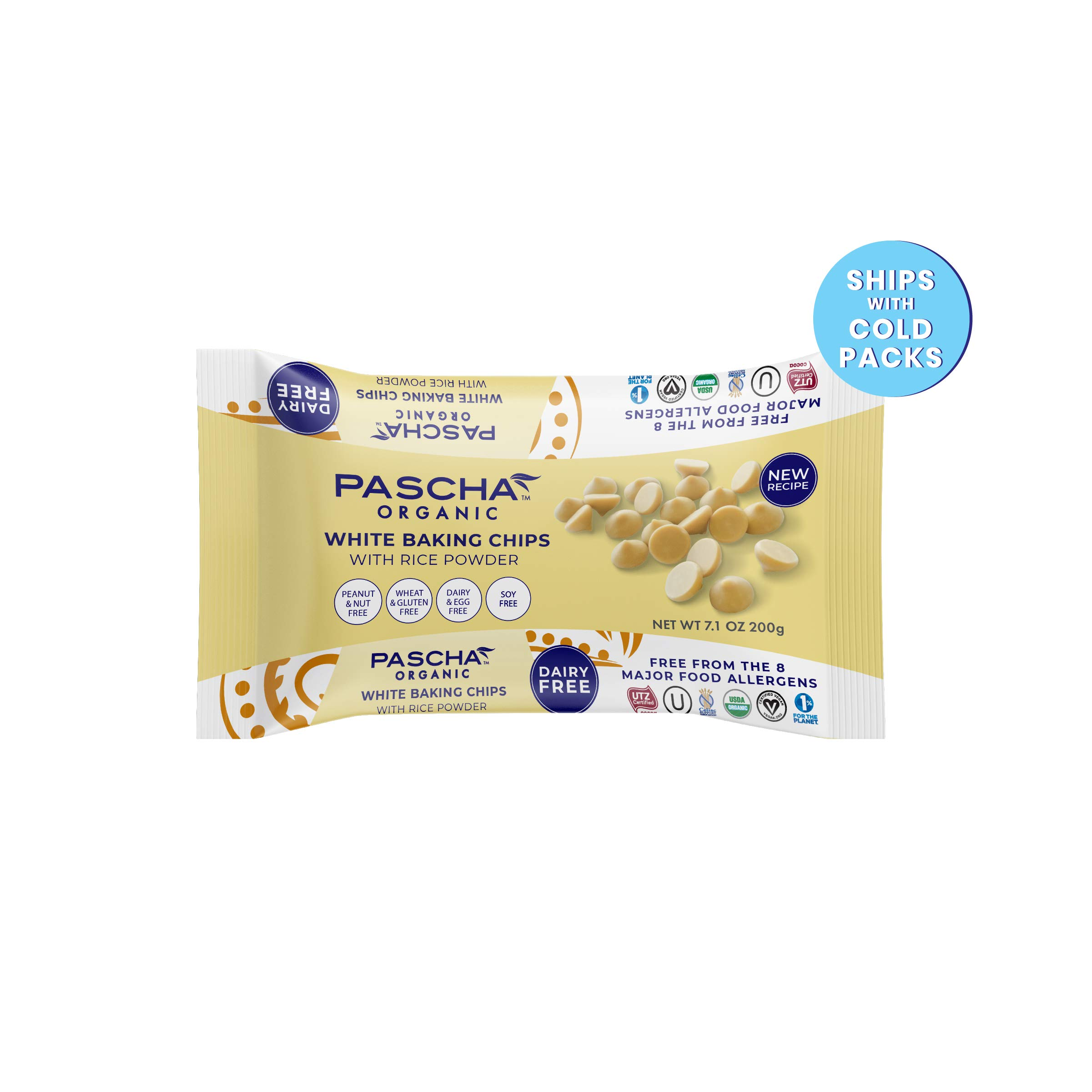 Pascha Organic Vegan White Chocolate Chip, 7 Ounce (Pack of 8) by Pascha