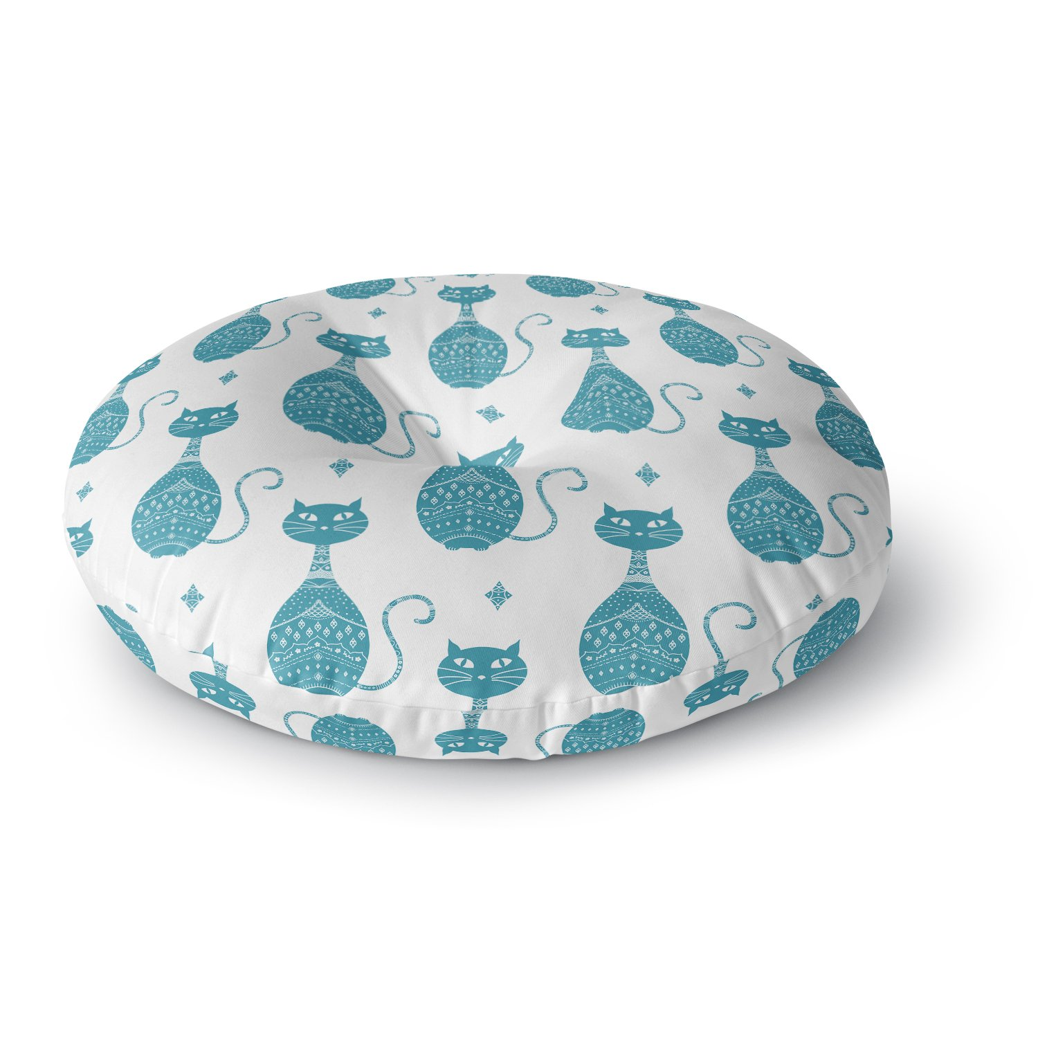 KESS InHouse Cristina Bianco Design Blue Cat Pattern White Animal Round Floor Pillow, 26''