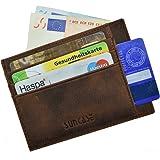 Edles Kartenetui von Suncase flaches Design ECHTLEDER für Kredit- und EC-Karten ePerso Natur Leder antik coffee