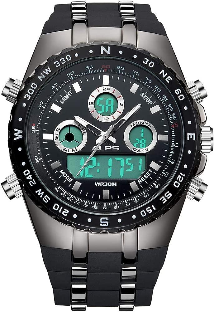 ALPS Reloj de Pulsera de Hombre cronógrafo en Acero Inoxidable con Pulsera de eslabones de Estilo corporativo