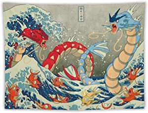 Tapestry, The Great Wave of Kanagawa Gyarados, Best Children Birthday Present, Cartoon Anime Wall Hanging Art for Bedroom Living Room College Dorm Home Decor, 60