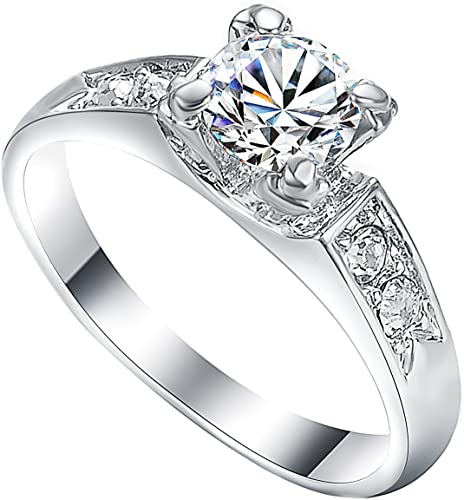 White Gold Plated Chic Fashion Engagement Ring Silver Plated Wedding Moonstone