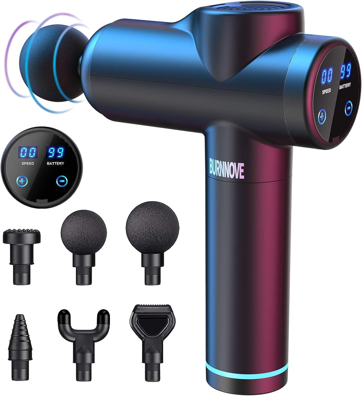 Pistola de Masaje Eléctrica Muscular Masajeador Tejido Profundo Alivio Muscular 99 Velocidad 2550mAh 3300 RPM Bajo Ruido Pantalla Táctil LED con 6 Cabezales Reemplazables