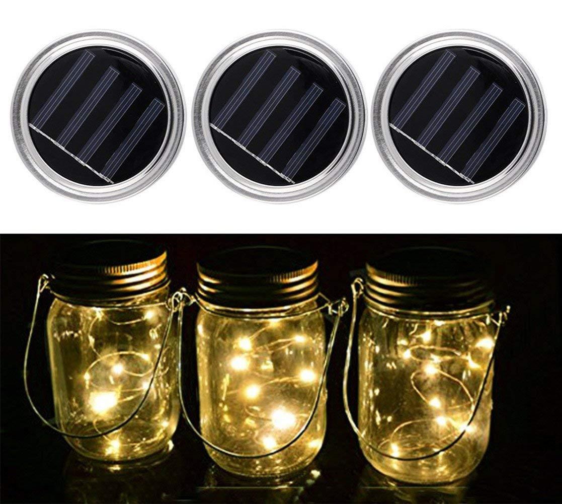 Mason Jar Lights, 3 Pack Solar Mason Jar Lid Insert, LED String Solar Light Jar Lid Insert for Garden Patio Outdoor Party Festivals, Wedding Decoration (Warm White Lights)