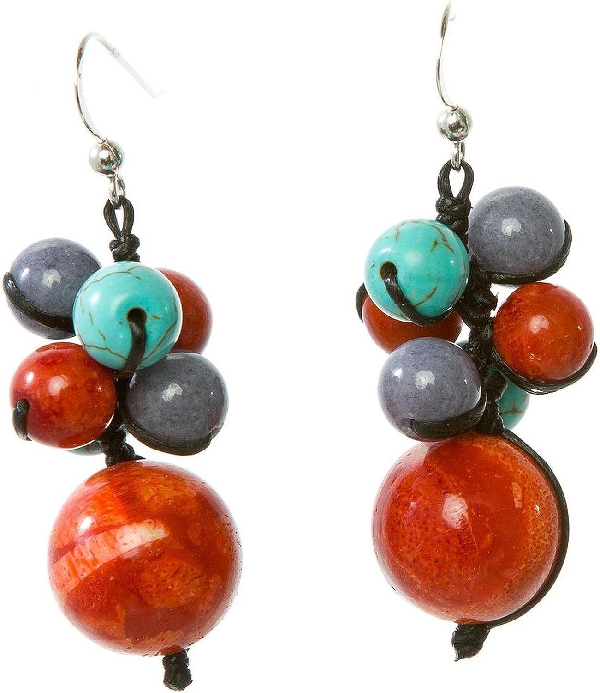 Turquesa Jikora, esponja de Coral y Jade pendientes de piedras preciosas de hipotecas por infusión