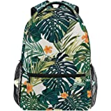 Oarencol Tropical Summer Hawaiian Flower Palm Leaves Orange Floral Backpacks Bookbags Daypack Travel School College Bag for W