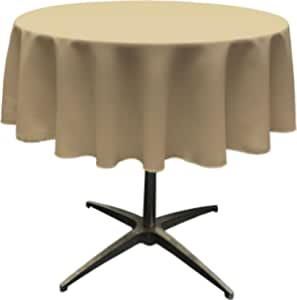 "LA Linen Polyester Poplin Round Tablecloth, 58"", Taupe"