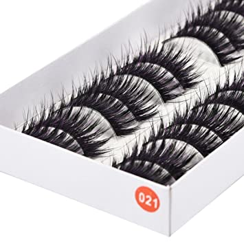 de1c5a5aa59 Amazon.com : 10 Pairs Thick Long Cross Party False Eyelashes Multicolor  Band Fake Eye Lashes (Purple) : Beauty