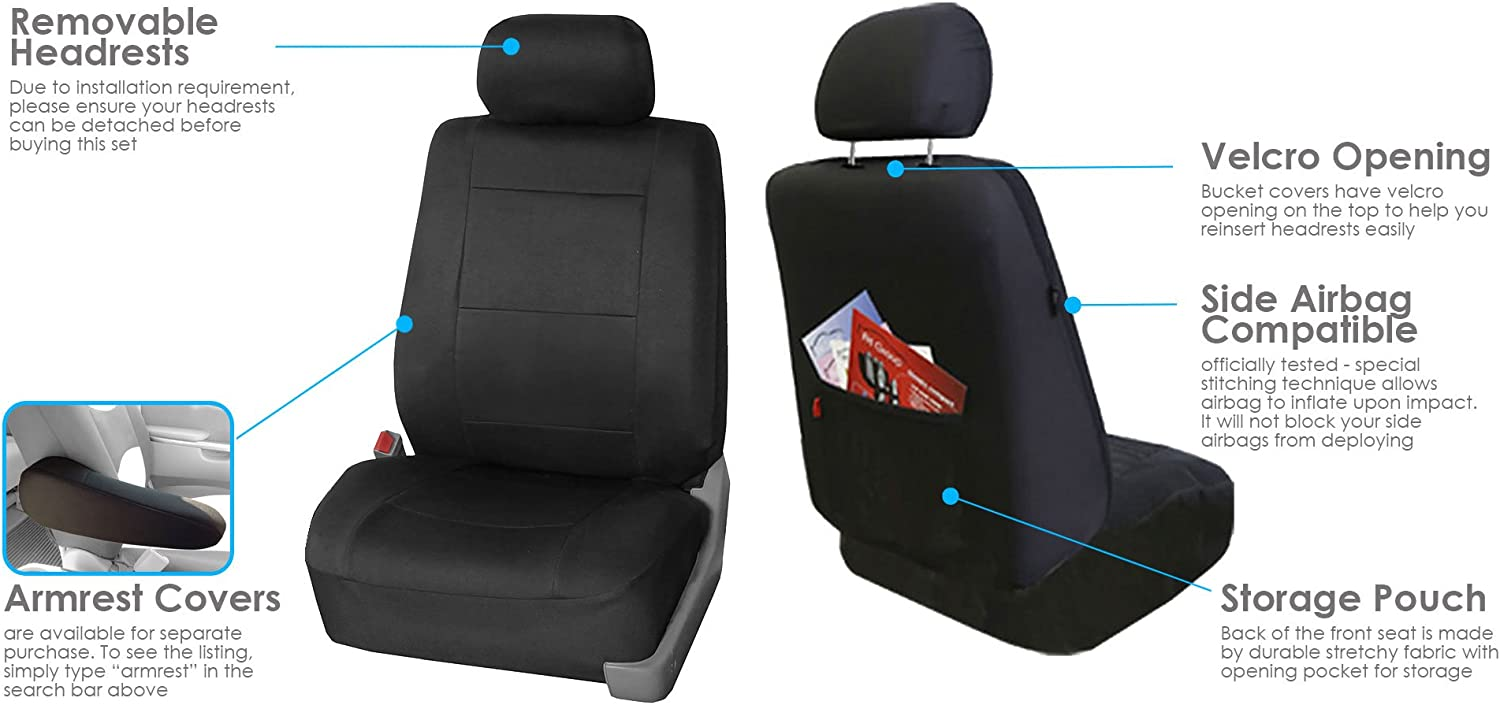 3 Row 8 Seater Gray Seat Covers for SUV Van Accesory Combo w// Gray Floor Mats