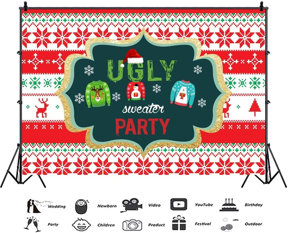 7x5ft Ugly Sweater Party Backdrop Snowflake Xmas Element Family Ugly Sweater Party Photography Background Banner Winter Christmas Theme Party Kids Adult Portrait Product Shooting Props