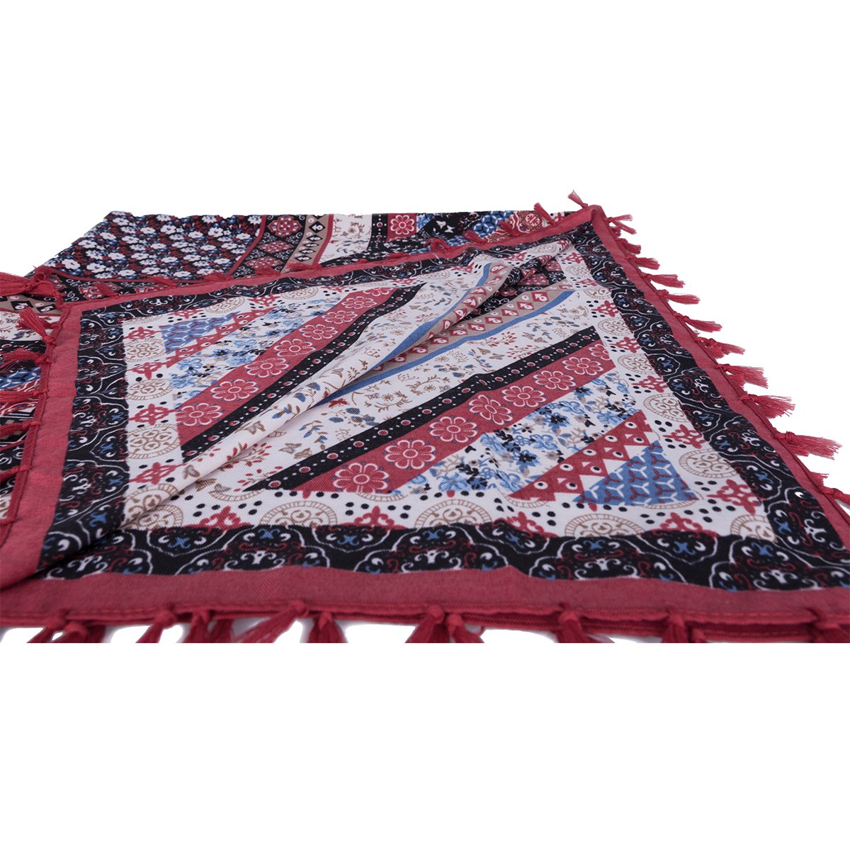EVRFELAN Women Boho Scarf Tassel Shawl Tapestry Tablecloth Beach Towel Picnic Throw Wall Hanging Yoga Mat Ladies Cotton Scarves by Popular Handicrafts (Red1)