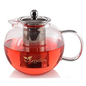 Camellia Teapot with Stainless Steel Infuser Borosilicate Glass Modern Design Tea Pot - Holds 5 Cups 40 Ounce.
