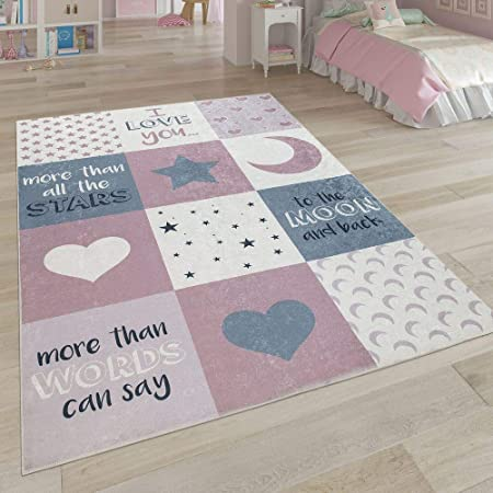Gr/ö/ße:120x160 cm TT Home Kinderzimmer Teppich Waschbar Pflegeleicht Punkte Motiv Mit Spruch in Gelb Wei/ß