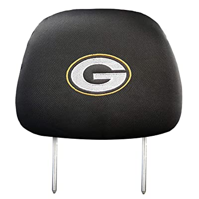99 Carpro Green Bay Packers Black Slip Over Embroidered/Printed Head Rest Cover Set Universal Car Interior Accessories Fit for Toyota, Jeep, Ford, Lexus, Cadillac, BMW, Audi, 2 Pack: Automotive