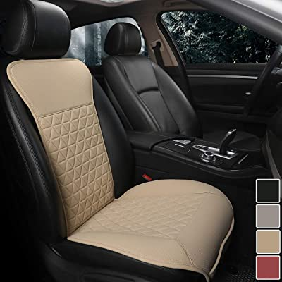 Black Panther 1 Piece Luxury PU Leather Front Car Seat Cover Protector Compatible with 95% Cars (Sedan/SUV/Pickup/Van), Triangle Quilted Design - Beige: Automotive