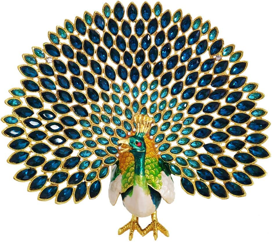 SEVENBEES Hand Painted Peacock Figurine Enamel Hinged Jewelry Trinket Box for Home Decor (Green)