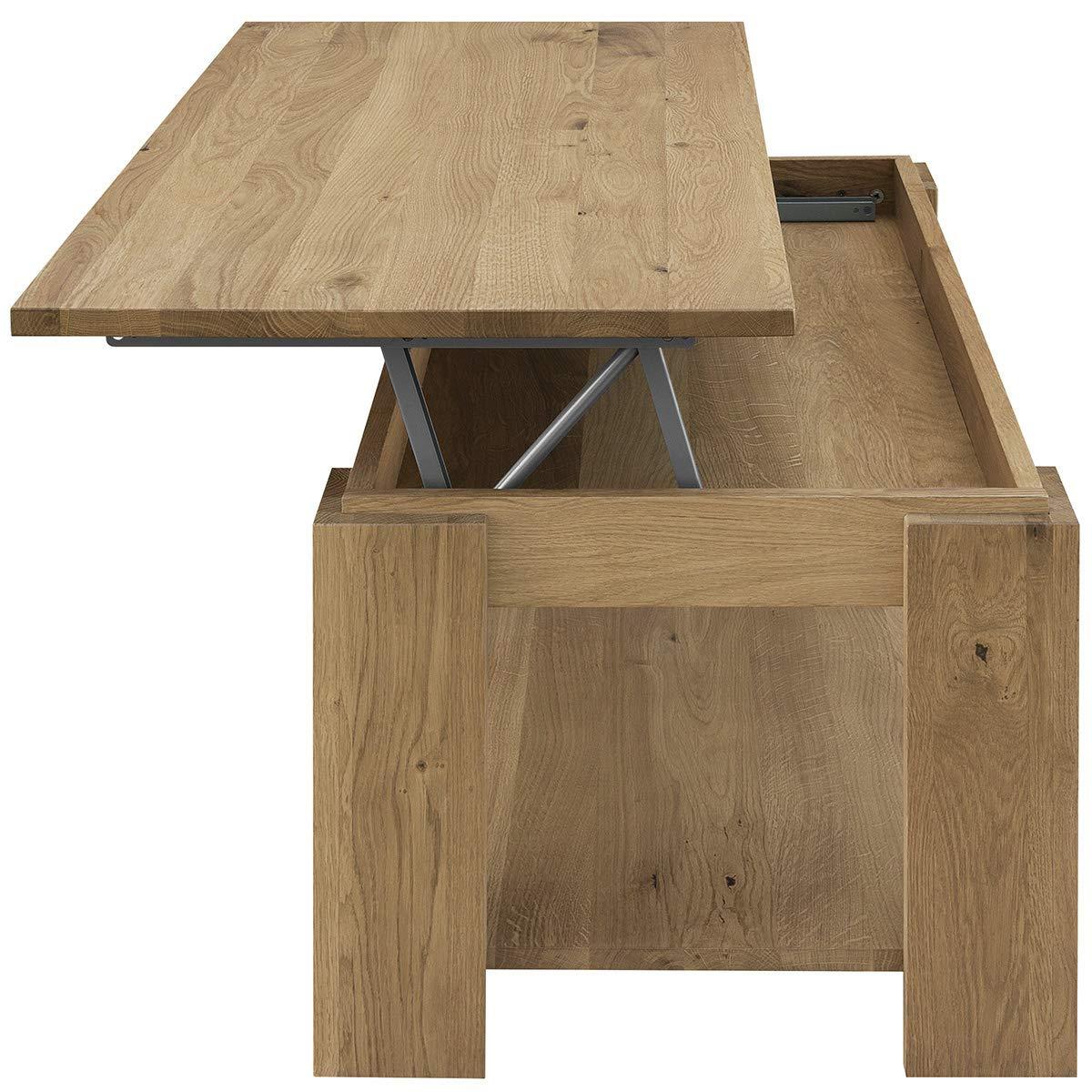 COMIFORT Comiford Couchtisch für Das Wohnzimmer, höhenverstellbar, mit integriertem aus Zeitungsständer, aus integriertem massivem Eichenholz, 100 x 50 x 43 55 cm 323f98