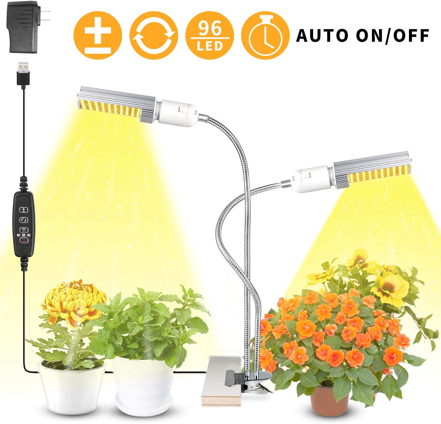 WOLEZEK Plant Light for Indoor Plants, 50W 96 LED Auto ON Off Timer Full Spectrum Grow Lamp, 3 9 12H Timing 13 Dimmable Levels for House Garden Hydroponics Succulent Growing