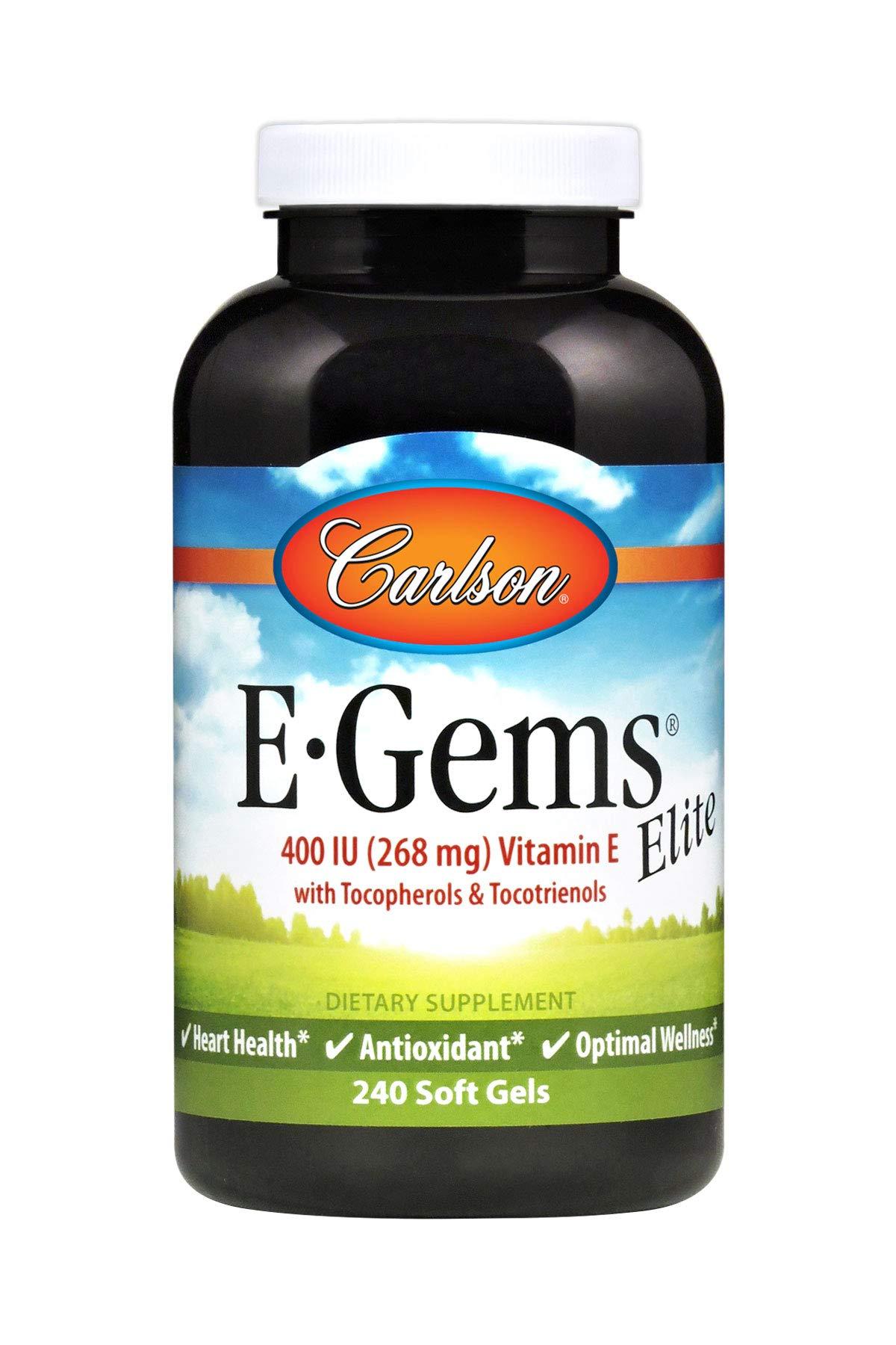 Carlson - E-Gems Elite, 400 IU Vitamin E with Tocopherols & Tocotrienols, Heart Health & Optimal Wellness, Antioxidant, 240 soft gels