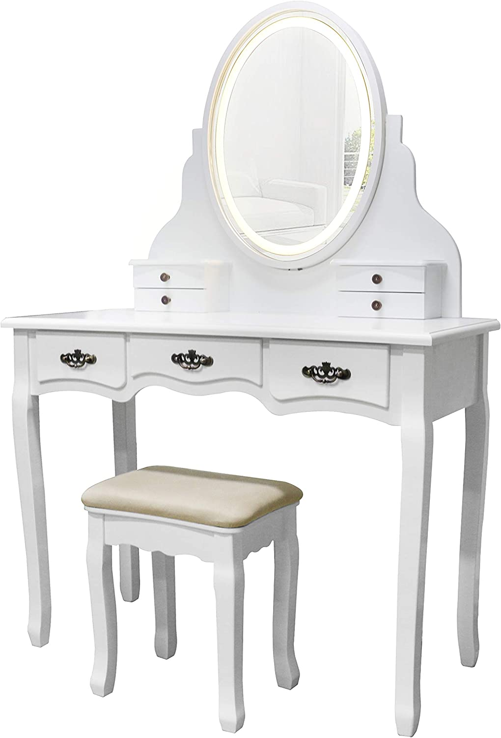 YOUKE Vanity Set,Oval Single Mirror Dressing Table with LED Light and Plug,7 Drwers,Cushioned Stool for Girl and Lady, White