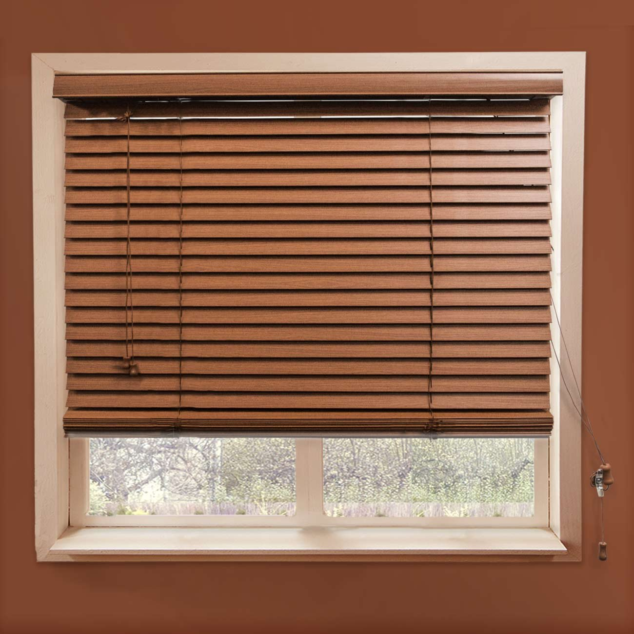 CHICOLOGY Faux Wood Blinds/window horizontal 2-inch venetian slat, Faux Wood, Variable Light Control - Simply Brown, 35'' W X 64'' H