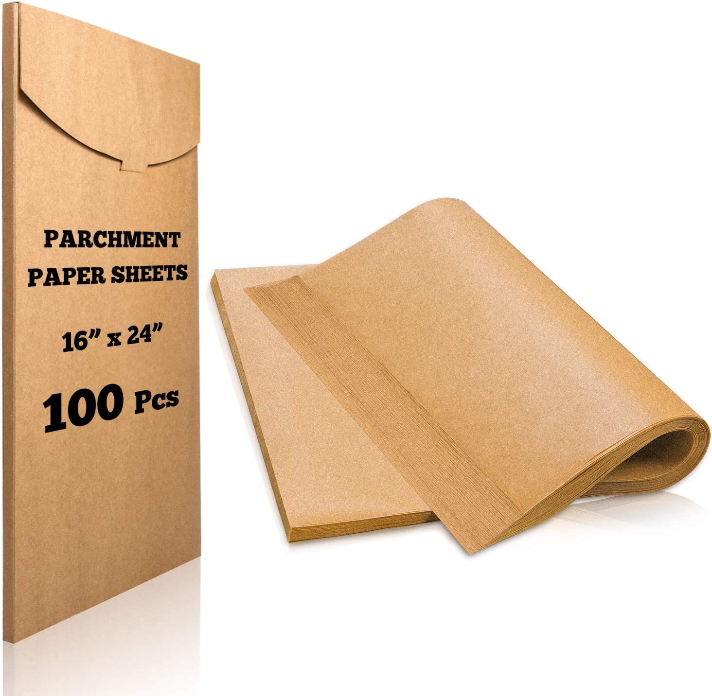 Hiware 100 Pieces Parchment Paper Sheets 16x24 Inches, Precut Non-Stick Parchment Sheets for Baking, Cooking, Grilling, Frying and Steaming - Unbleached, Fit for Full Size Pans