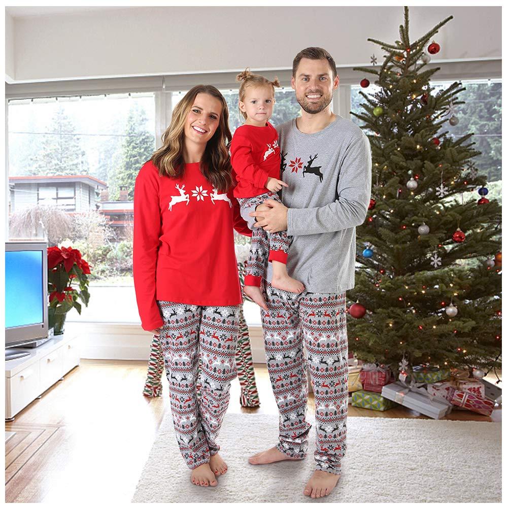 BOBORA Christmas Pajamas for Family, Merry Christmas Classic Reindeer Matching Family Christmas Pajama Set Toddler Jammies infant-and-toddler-pajama-sets