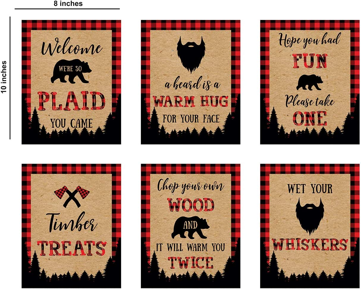 Lumberjack Party Supplies Birthday Sign I Pack of 6 I Bufallo Plaid Signs for Table I Rustic Table Sign I Lumberjack Baby Shower First Birthday Food Party Signs Buffalo Plaid Decor
