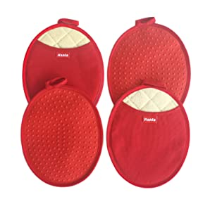 Honla 4-Piece Oval Pot Holders with Pockets - Heat Resistant to 500° F,Flexible Non-Slip Silicone Grip Hot Pads,Red