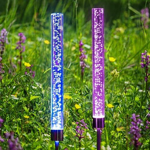 SanGlory - 2 lámparas solares LED para jardín, tubo de luz solar de acrílico, lámpara exterior con cambio de color RGB, lámparas solares impermeables, para jardín, terraza, patio trasero, decoración: Amazon.es: Iluminación
