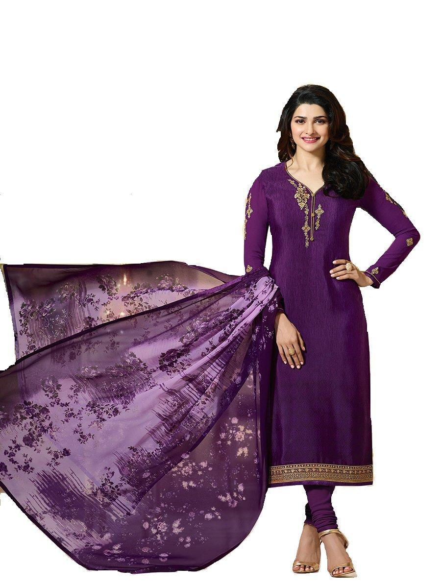 Delisa Ready Made New Designer Indian/Pakistani Fashion Dresses For Women P0 (Purple, X-LARGE-44)