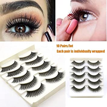 fbcc2d375cd Amazon.com : Vogue Beauty 10 Pairs Hand-made Fake Eyelashes Dramatic Makeup  Long Natural Eye Lashes Non Magnetic Individually Packaged : Beauty